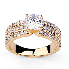 anillos de las mujeres clásicas transparente circón (plata, oro) (1 pc)