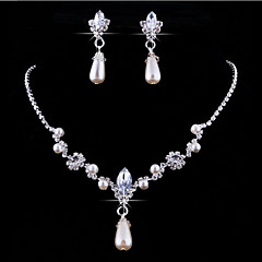 Ékszer készlet Nyaklánc medálok Virágos Személyre szabott Európai Gyöngy Kristály Strassz Hamis gyémánt Ötvözet Lógó Naušnice Nyaklánc