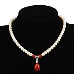 preiswerte Halsketten-Damen Rot Rubin Halskette / Y Halskette / Perlenkette - Perle Tropfen, Blume Weiß Modische Halsketten Schmuck Für Party, Besondere Anlässe, Jahrestag / Geschenk