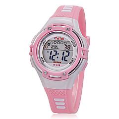 Çocuk Spor Saat Bilek Saati Moda Saat Quartz LCD Silikon Bant Günlük Siyah Beyaz Pembe