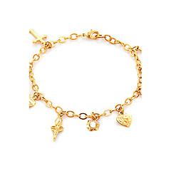 Naisten Amuletti-rannekorut Heart Alkuperäinen korut Tekojalokivi Platinum Plated Gold Plated 18K kulta Heart Shape RakkausKulta