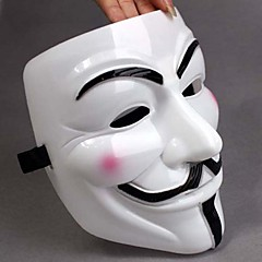 Tjockna Vit Mask V For Vendetta Full Face Scary Cosplay Prylar för Halloween dräktparti
