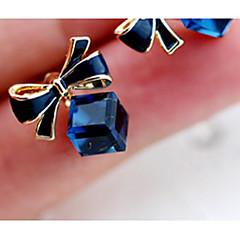お買い得  イヤリング-新しい韓国スタイルの蝶キュービックシェイドブルーラインストーンスタッドピアス(1ペア)