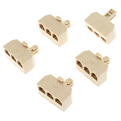 1-Male to 3-Female Telephone Network Connector Splitter Extender Plug Adapter(Yellow, 5 PCS)