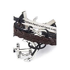 halpa Miesten korut-Naisten äärettömyys Ankkuri Wrap Rannekorut - Yksilöllinen Inspiraatio äärettömyys Ankkuri Musta / kahvi Rannekorut Käyttötarkoitus