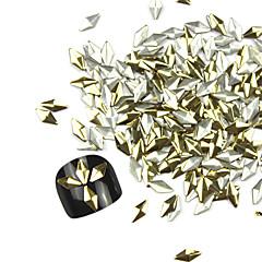 300PCS 3D Golden Rhombus Liga Nail Art de Ouro e Prata Decoração