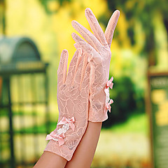 Недорогие Женские украшения-Кружева До запястья Перчатка Свадебные перчатки / Вечерние перчатки / Рабочие перчатки С Бант