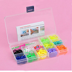 Z&X® Rainbow Colorful Loom Style 600Pcs Bands,25Pcs C or S Clips, 1 Looms 1 Hook+1Box