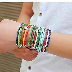 preiswerte Armbänder-Herrn Lederarmbänder - Leder, Titanstahl Modisch Armbänder Grün / Rot / Rot / Weiß / Rot und Gelb Für Weihnachts Geschenke / Alltag / Normal