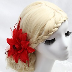 여성 플라워 걸 깃털 패브릭 투구-웨딩 특별한날 야외 머리 빗 꽃
