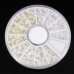 1200pcs karışımı beyaz boyutları&fildişi inci tekerlek tırnak sanat dekorasyon