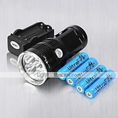 preiswerte Taschenlampen-LED Taschenlampen Modus 6000 Lumen Wiederaufladbar / Stoßfest / Schlag-Fassung Cree XM-L T6 18650Camping / Wandern / Erkundungen / Für