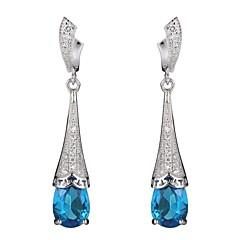 Druppel oorbellen Sterling zilver Zirkonia Blauw Sieraden Voor Feest Dagelijks Causaal
