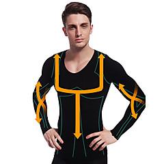 man afslanken thermisch ondergoed shirt lange mouw body shaper stevige buik buik buste nylon zwart ny102
