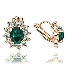 preiswerte Ohrringe-Damen Kristall Tropfen-Ohrringe / Klips - Krystall, vergoldet, Diamantimitate Rot / Grün / Blau Für Hochzeit / Party / Alltag / Normal