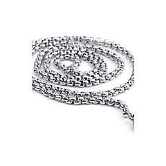Недорогие Ожерелья-Муж. Ожерелья-цепочки / Цепи / Цепочка - Нержавеющая сталь На каждый день, Простой стиль, Мода Серебряный Ожерелье Бижутерия Назначение Подарок