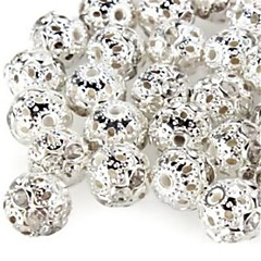 cheap Beads & Jewelry Making-DIY Hollow Spherical-Shaped With Artificial Diamond Silver Plated Spacer Beads (10Pcs)