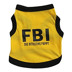 cheap Dog Clothing & Accessories-Cat Dog Shirt / T-Shirt Jersey Dog Clothes Letter & Number Police/Military Black/Yellow Cotton Costume For Pets