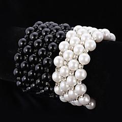 お買い得  ブレスレット-女性用 クリア ブラック  -  人造真珠 レディース, チェーン ブレスレット ジュエリー ホワイト / ブラック 用途 結婚式 パーティー 記念日 誕生日 婚約 贈り物