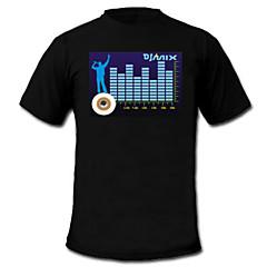 halpa LED t-paidat-ääni ja musiikki aktivoitu spektri VU-mittari el Visualizer T-paita (2 * AAA)