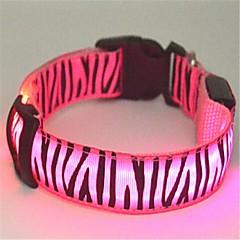 お買い得  犬用首輪/リード/ハーネス-ネコ / 犬 カラー LEDライト / ゼブラ柄 ナイロン グリーン / ブルー / ピンク