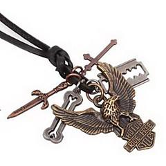 Недорогие Ожерелья-Муж. Ожерелья с подвесками Кожа Сплав Крестообразной формы Бижутерия Уникальный дизайн Мода Бижутерия Повседневные 1шт
