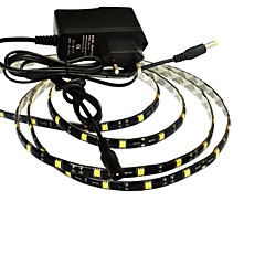 preiswerte LED Lichtstreifen-jiawen® wasserdichte 1m 5w 60x5050smd weißes / warmes Weiß führte flexibles Streifenlicht + 1a Leistung (Wechselstrom 110-240V)