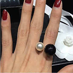 cheap Multicolor Pearl Collection-Women's Statement Ring - Pearl, Imitation Pearl, Resin Birthstones, Open Adjustable White / Black For Wedding / Party / Daily / Black Pearl / Alloy