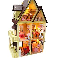 abordables Casas de Muñecas y Accesorios-el chocolate de madera en miniatura bricolaje villa casa de muñecas con los juguetes de luz dirigidos
