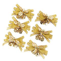 6pcs Nochi 4 * 7 cm de tela de oro de la Navidad de anillo abajo decoraciones de Navidad