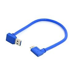 voordelige -omlaag richting gebogen 90 graden usb 3.0 plug naar micro b plug haakse kabel 20cm