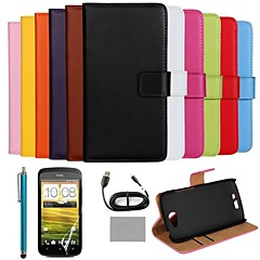 COCO FUN® Luxury Ultra Slim Solid Color Genuine Leather Case with Screen Protector,Cable and Stylus for HTC One S