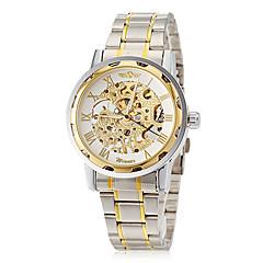 WINNER Męskie Szkieletowy zegarek mechaniczny Mechaniczny, nakręcanie ręczne Grawerowane Stal nierdzewna Pasmo Ekskluzywne Srebro Złoty