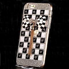 lujo de diamantes de perlas de cristal bowknot caso de la contraportada para el iphone 6