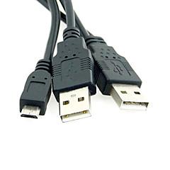 0.8m 2.624ft usb2.0 + micro usb2.0 naar usb2.0 m / m usb driekoppige kabel dual usb-voeding voor mobiele harde schijf