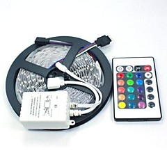 abordables Sets de Luces-5 m Tiras LED Flexibles / Sets de Luces / Tiras de Luces RGB LED 5050 SMD RGB Control remoto / Cortable / Regulable 12 V / Conectable / Auto-Adhesivas / Color variable / IP44