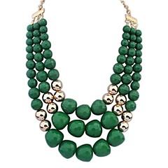 preiswerte Halsketten-Damen Mehrschichtig / Glasperlen Statement Ketten / Layered Ketten - Personalisiert, Europäisch, Mehrlagig Fuchsia, Grün, Blau Modische Halsketten Für