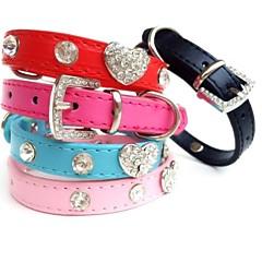 お買い得  犬用首輪/リード/ハーネス-ネコ 犬 カラー ラインストーン PUレザー ブラック ローズ レッド ブルー ピンク