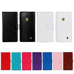 Недорогие Чехлы и кейсы для Nokia-Кейс для Назначение Nokia Lumia 520 / Nokia Кейс для Nokia Кошелек / Бумажник для карт / со стендом Чехол Однотонный Твердый Кожа PU для