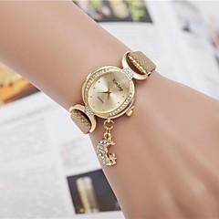 お買い得  レディース腕時計-女性用 ダミー ダイアモンド 腕時計 ブレスレットウォッチ ファッションウォッチ クォーツ 模造ダイヤモンド PU バンド 光沢タイプ ブラック 白 レッド ゴールド パープル