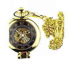 Heren Zakhorloge mechanische horloges Hol Gegraveerd Handmatig opwindmechanisme Legering Band Vintage Luxueus Goud