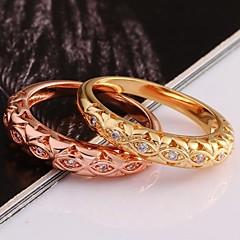 お買い得  指輪-女性用 ステートメントリング  -  ゴールドメッキ ファッション 7 / 8 ローズ / ゴールデン 用途 結婚式 / パーティー / 日常 / ジルコン