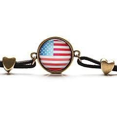preiswerte Armbänder-Zeit gem Kunst Glascabochon amerikanische Staatsflagge-Armband (1 Stück)