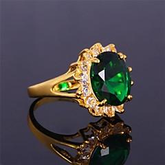 お買い得  指輪-女性用 バンドリング - ジルコン, キュービックジルコニア, ゴールドメッキ 誕生石です. 6 / 7 / 8 レッド / グリーン / ブルー 用途 結婚式 / パーティー / 日常