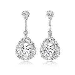 mody klasyczne długie kolczyki łzy wypełnione zwisają musujące małe CZ kolczyki Diamond Drop