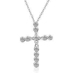 Női Rövid nyakláncok Nyaklánc medálok Nyilatkozat nyakláncok Függők Cross Shape Szintetikus drágakövek Ezüst Cirkonium Kocka cirkónia