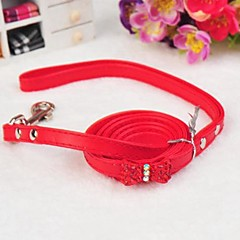 お買い得  犬用首輪/リード/ハーネス-ペットの犬のためにリーシュと首輪を飾っちょう結び調整可能なPUレザーラインストーン(アソートカラー)