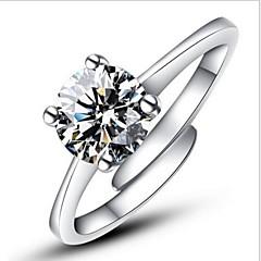 preiswerte Ringe-Damen Verlobungsring Statement-Ring Silber Sterling Silber Diamantimitate Vier Krappen Klassisch Liebe Ohne Verschluss Modisch Einstellbar