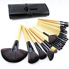 24-osainen ponin harjasta ammattilaisten meikkisivellinsetti puukahvalla puuterille/peitevoiteelle sekä silmämeikille ja huulille, mukana