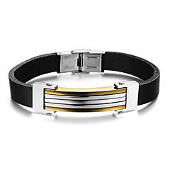 preiswerte Armbänder-Lederarmbänder - Leder Armbänder Schwarz / Golden Für Alltag Normal